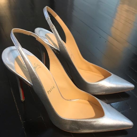 f60f486d8ea Christian Louboutin Fleuve silver slingback heels